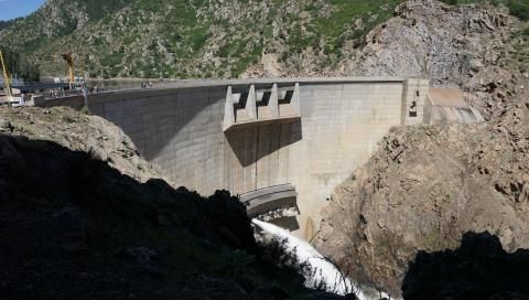 front of dam