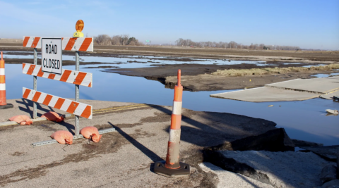 Water across closed road