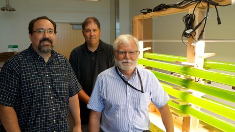 Three men standing by yellow-green tubes